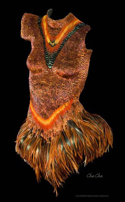 """ChaCha"" feathered body sculpture"