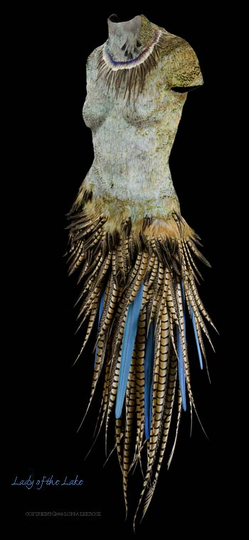 """lady of the lake"" feathered body sculpture"